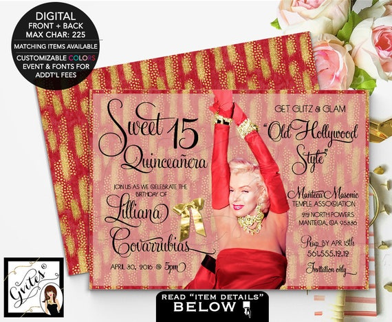 Hollywood theme Quinceanera or Sweet 16 invitation, red and gold glitter birthday Marilyn Monroe glitz glam,sixteen, 5x7 double sided