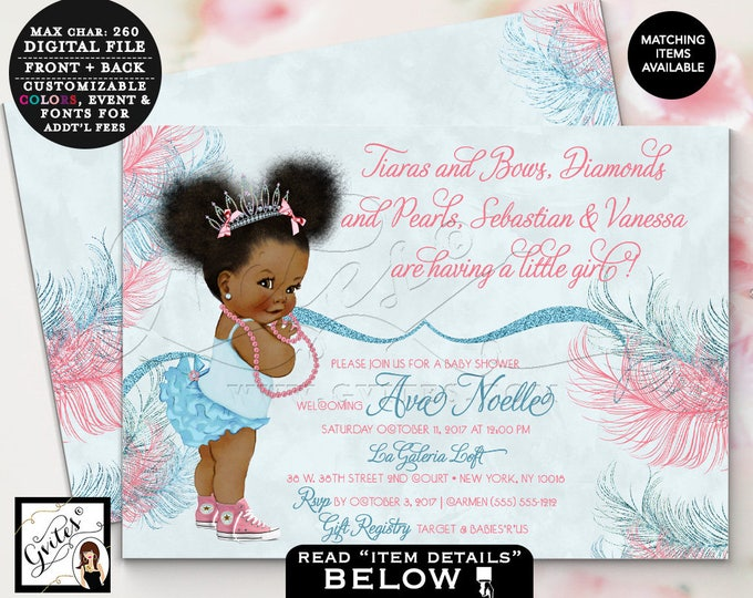 Pink and blue baby shower African American princess invitation, tiaras bows, diamonds and pearls, printable digital file, 7x5 double sided.