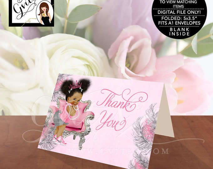 "Pink and Silver Thank You Cards, Baby Shower African American Princess Baby Vintage Girl, Afro Puffs, Instant Download, 5x3.5""/2 Per/Sheet."