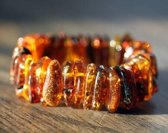 Amber Bracelet - Baltic Amber Bracelet - Adult Amber Bracelet - Healing Bracelet - Cognac Bracelet - Baltic Amber Jewelry - Gift for Her