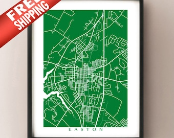 Easton, MD Map - Eastern Shore, Maryland, USA Art Poster Print