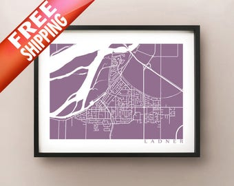 Ladner, Delta Map Poster Print - BC, Canada
