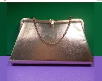 SALE Admiral Gold Lamé Chain Strap Evening Bag