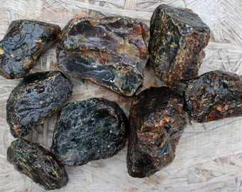 2 Indonesian Black Amber Medium Sized Rough Raw Chunk!