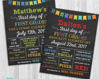 First day of First Grade sign, First day of school sign, First Grade poster Chalkboard poster, 1st day Back to School Sign Printable
