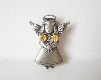 JJ Jonnette Jewelry pewter Angel brooch with gold tone earrings