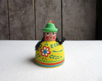 Vintage World Christmas Tree Ornamant,Colombia/Colombio,Painted Pottery Bell,People,Figurative,Women,Floral Design,Traditional,Ethnic,Native