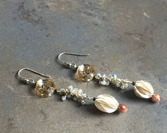 38 - Swarovski crystals, sterling silver and pearl earrings