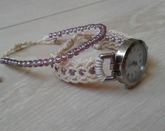 Bracelet fine macrame + beads