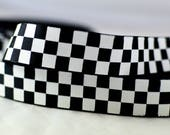 "Black and White Checkers Pattern Grosgrain Ribbon 7/8"" Scrapbooking HairBows Parties DIY Projects BW1015"