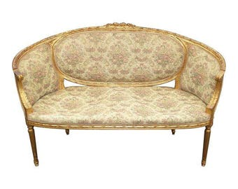 Vintage French Provincial Louis XVI Carved Gold SETTEE Loveseat