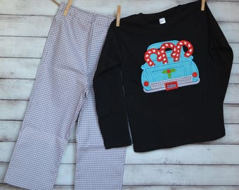 Truck with Candy Canes Applique Shirt or Onesie Boy or Girl