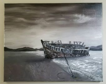 16x20 Sepia Shipwreck/Oil Painting