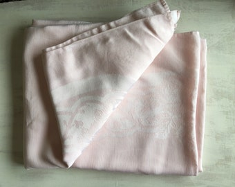 Large Light Pink Vintage Linen Tablecloth