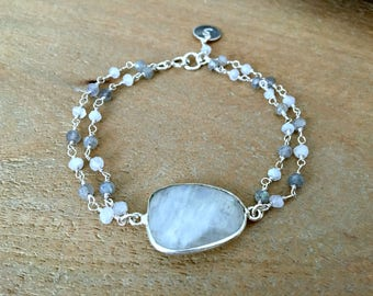 personalized moonstone bracelet rainbow moonstone Jewelry moonstone gemstone bracelet hand stamped initial disc letter moonstone chain gift