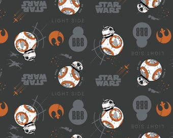 Star Wars: The Last Jedi Fabric BB8 in Carbon From Camelot 100% Cotton