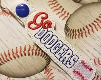 Go Dodgers - Baseball - Key Fob In The Hoop - DIGITAL Embroidery DESIGN