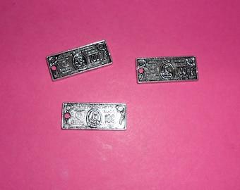 3 charms ' ticket 100 Dollars silver Tibetan 20mm