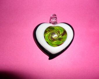 1 heart pendant black & white inside your khaki glass 40mm