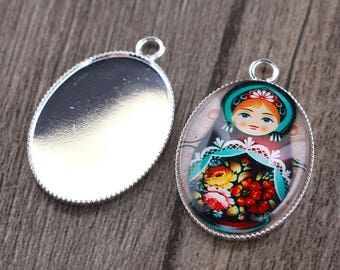 X 2 holders silver oval cabochon 18X25mm
