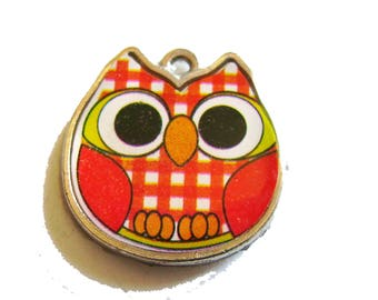 X 1 OWL enamel red 20mm