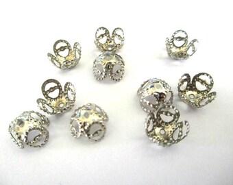 X 20 8mm silver filigree bead caps