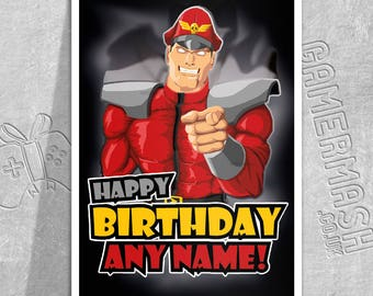 PERSONALISED BIRTHDAY CARD - M.Bison Wishes -  Street Fighter themed