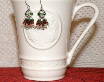 Cluster Fringe Christmas Earrings