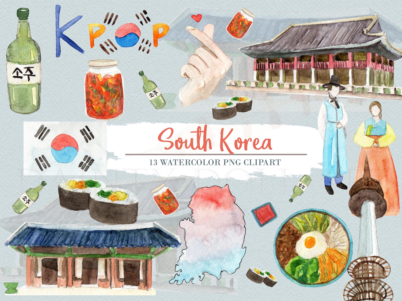 South Korea Clipart Watercolor Digital Download Travel East