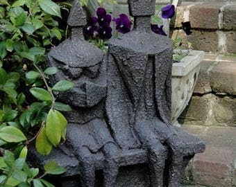 Man and Woman Textured Faux Lava Stone Statue Sculpture Designer Art SALE