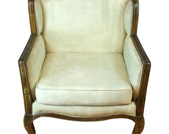 Canvas and Wood Edge French Industrial Club CHAIR w Canvas Natural Fabric