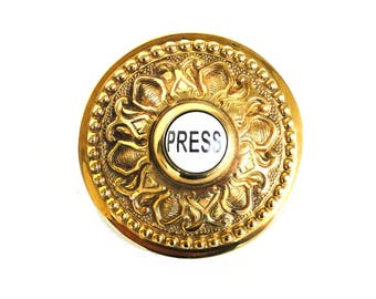 Round PRESS Porcelain Door Bell Button Electric Victorian Solid Brass Old Style