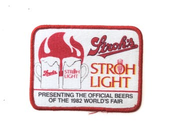 "Vintage Stroh's Beer Light Official Drink Of The 1982 Worlds Fair Embroidered Patch 3.5"" x 3"""