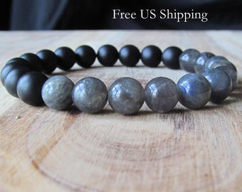 8mm Labradorite and Matte Black Onyx Bracelet, Womens or Mens Bracelet, Mens Jewelry, Gift for Men, Mala Yoga Jewelry, Stacking Bracelet