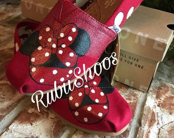 Women's Toms- Red Glitter- Minnie Mouse-Painted Toms- Red Toms-Polka Dots- Customs Shoes- Disney Shoes- Disney Toms-