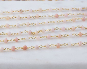 Pink Opal Beaded Wire Wrapped Vermeil Chain, Rosary Chain, Priced Per Foot, Gemstone Chain, Wire Wrapped Chain, Beaded Chain, SCNF169