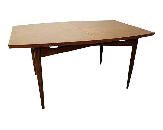 Mid-Century Modern American of Martinsville Walnut Surfboard Dining Table #10
