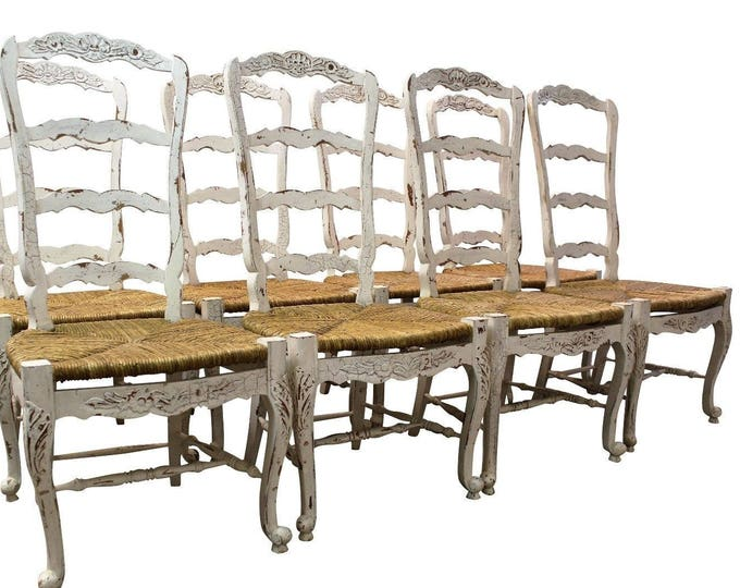 Set of 8 French Country White Carved 4-Rung Rush Seat Ladderback Dining Chairs