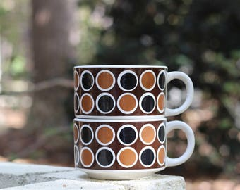 Pair of Vintage Mod Geometric Soup Mugs / Black and Brown Geometric Soup Mugs / Mod Soup Cups
