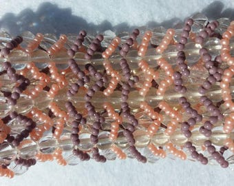 Beaded pink and purple cuff bracelet
