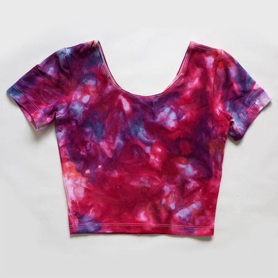 XS Bright Pink Watercolor Crop Tee