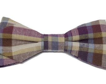 Bow tie Plaid beige, blue, plum with sharp edges