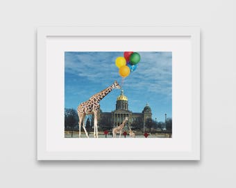 Giraffes on Des Moines Capitol. Surreal photography, fantasy photography, giraffes and ballons, Iowa, Des Moines, Des Moines Capitol,