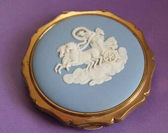 Stratton Compact 'Aurora , Goddess of the Dawn'  Wedgwood Blue Jasperware.  c1950's. Wonderful Vintage Gift.