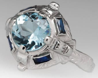 Antique Engagement Ring - 1.15 Carat Aquamarine W/ Created Blue Sapphires  - Art Deco 18K White Gold Engagement Wedding Ring - WM12266