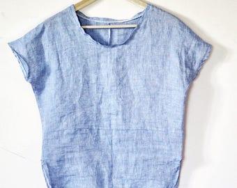 Linen Top Blue Wavy Blouse Casual Top Natural Linen Minimalist