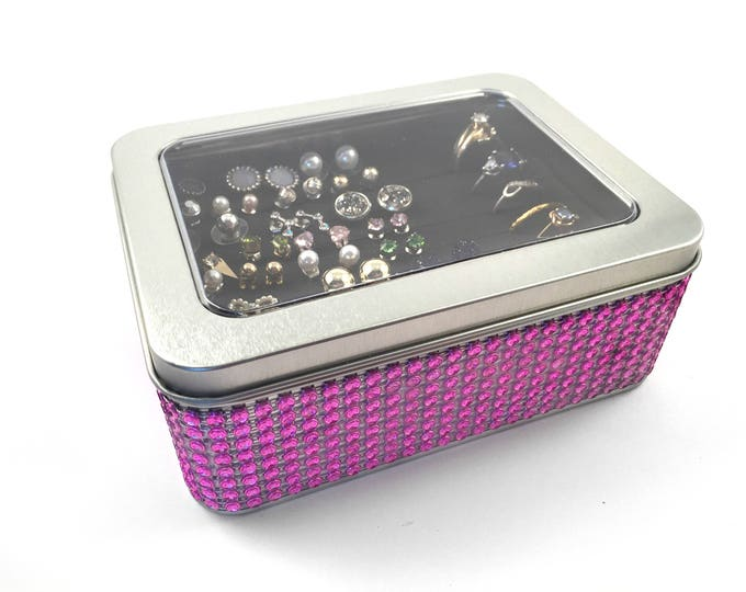 Tin Jewelry Box, Jeweled Ribbon - Hot  Pink - Travel Earring Holder