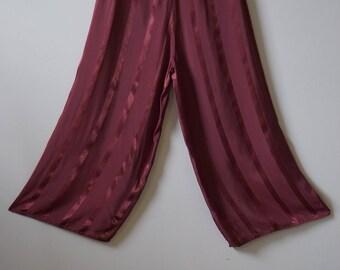 1940s 1930s Maroon Rayon Side Snap Pajama Pants