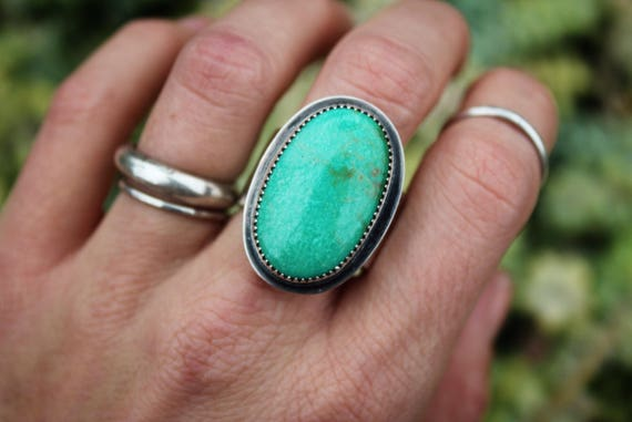 American Turquoise Thick Band Ring