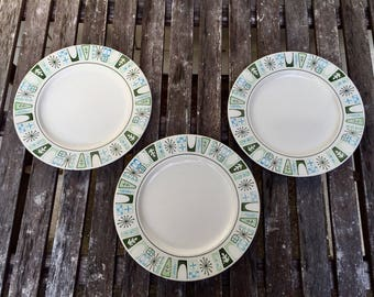 "Atomic, Mid century modern dinner plates. ""Cathay"" starbust by Taylorstone, blue, green & black on white. 1960s."